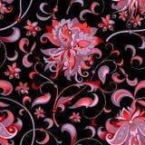 与灰色和红色花的无缝的样式 免版税库存照片