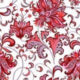 与灰色和红色花的无缝的样式 免版税图库摄影