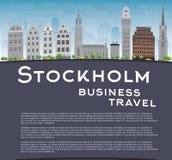 与灰色大厦、蓝天和拷贝空间的斯德哥尔摩地平线 向量例证