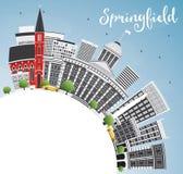 与灰色大厦、蓝天和拷贝空间的斯普林菲尔德地平线 库存例证