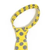 与灰色斑点的黄色领带 笤帚查出的白色 3d例证 免版税库存图片