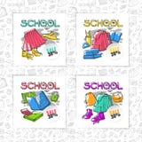 与灰色无缝的样式背景概述的传染媒介学校标志教育集合卡片或横幅时髦的设计给文具穿衣 免版税库存图片