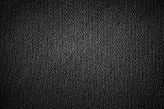 与灰色梯度光摘要的简单的黑背景麻袋布织品纹理产品或文本背景设计的 免版税库存图片