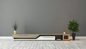 与灰色棕色墙壁设计的现代电视立场 库存图片