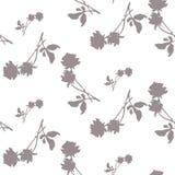 与灰色玫瑰和叶子剪影的水彩无缝的样式在白色背景 在白的灰色口气的中国主题 免版税库存图片