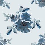 与灰色玫瑰花束的水彩无缝的样式在灰色背景的 库存照片