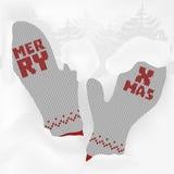 与灰色的爱拥抱圣诞卡编织了在减速火箭的样式的手套 免版税库存照片