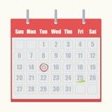 与灰色的红色啪嗒啪嗒的响声日历编号在白色背景的特写镜头 皇族释放例证