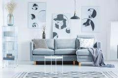 与灰色长沙发的单色大厅 免版税库存照片