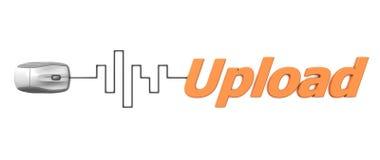 与灰色鼠标-数字式电缆的橙色字加载 免版税图库摄影