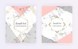 与灰色,桃红色三角形状,在大理石纹理的金黄线的几何封面设计 卡片的,飞行物现代模板, 库存例证