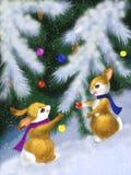 与灰鼠的圣诞卡 免版税库存照片