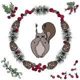 与灰鼠的被摆正的假日卡片 与逗人喜爱的漫画人物的从花卉元素的自然本底和花圈 免版税库存照片