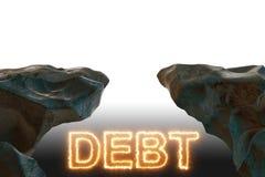 与灼烧的信件的债务和贷款概念 库存图片