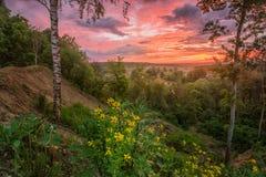 与灼烧的天空的早晨风景 免版税库存照片