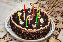 与灼烧的蜡烛第13的生日蛋糕 图库摄影