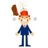 与炸药的恼怒的商人在他的头里面 免版税库存图片