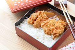 与炸鸡和菜的日本咖喱饭顶部在有筷子的黑色的盘子 库存照片