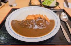 与炸鸡的咖喱饭 日本式 免版税库存照片