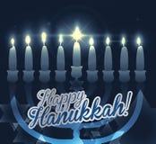 与点燃蜡烛和蓝色背景与Bokeh,传染媒介例证的Chanukiah 库存图片