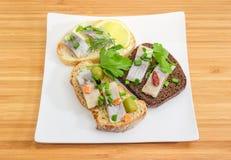 与烂醉如泥的鲱鱼内圆角的三个不同单片三明治在d 免版税库存照片