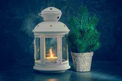 与烛光和杉树的圣诞卡 图库摄影