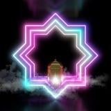 与烟和阿拉伯灯笼的八点星桃红色蓝色霓虹灯在深黑色背景 向量例证