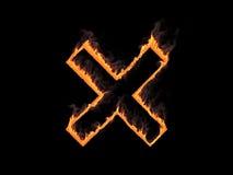 与烟的火热的十字架 3d回报 图象例证 免版税库存图片
