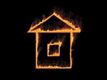 与烟的火热的房子象 3d回报 图象例证 免版税图库摄影