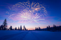 与烟花、森林和北极光的新年快乐卡片 库存照片
