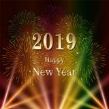 与烟花和轻的例证的新年快乐2019文本 向量例证