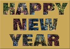 与烟花的新年快乐在文字内 免版税库存图片