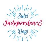 与烟花的美国独立日销售横幅在白色墙纸 免版税库存照片
