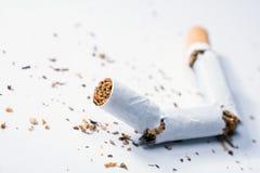 与烟草片的残破的香烟在白色箱子 库存图片