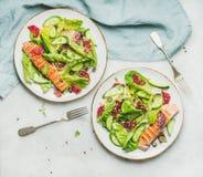 与烤三文鱼、桔子、橄榄和奎奴亚藜的健康春天沙拉 免版税库存图片