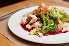 与烤三文鱼和菜的开胃菜 免版税库存照片