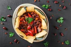 与烤干酪辣味玉米片或皮塔饼芯片的豆沙,胡椒和绿色在板材在黑暗的背景 库存照片