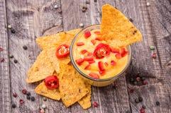 与烤干酪辣味玉米片的新鲜的干酪调味汁 图库摄影