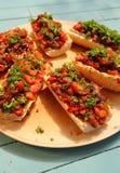 与烤菜和hummus的长方形宝石 库存照片