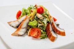 与烤鱼、蕃茄和搓碎干酪片断的沙拉莴苣  免版税库存照片