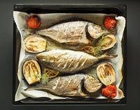 与烤鱼和菜的海鲜膳食 免版税库存图片