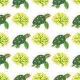与热带乌龟和珊瑚的无缝的样式 免版税库存图片