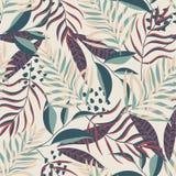 与热带叶子和植物的抽象样式黑几何背景的 E 密林印刷品 纺织品和printi 库存例证