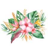 与热带叶子和花,水彩污点的水彩花束 库存例证