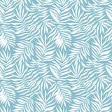 与热带叶子的传染媒介无缝的样式 与手拉的异乎寻常的植物的美丽的印刷品 游泳衣植物的设计 皇族释放例证