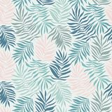 与热带叶子的传染媒介无缝的样式 与手拉的异乎寻常的植物的美丽的印刷品 向量例证