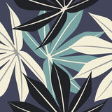 与热带叶子的典雅的无缝的样式 图库摄影