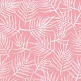 与热带叶子的无缝的样式在桃红色背景 向量例证