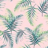 与热带叶子的无缝的模式 在浅粉红色的背景的黑暗和鲜绿色的棕榈叶 向量例证