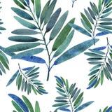 与热带叶子的无缝的模式 免版税库存图片